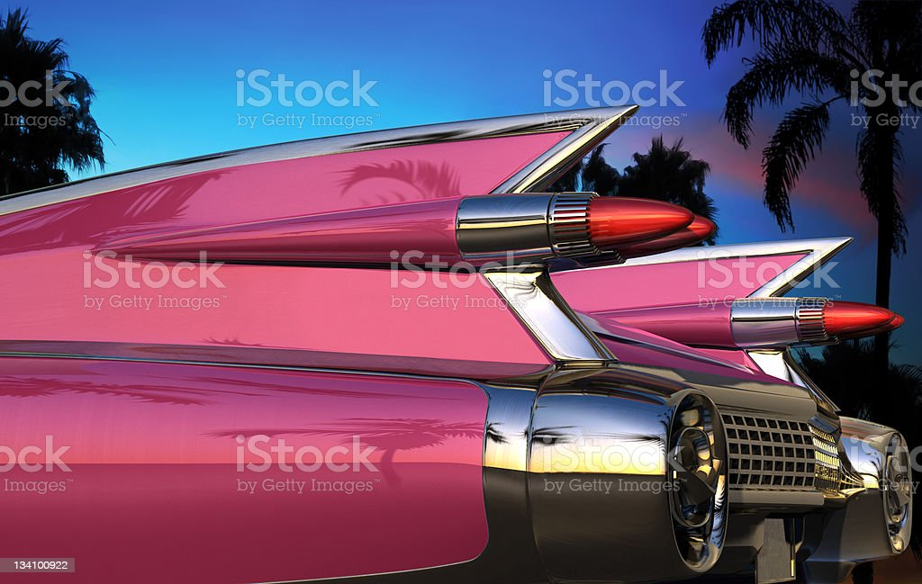 Retro American Car Tail Fins royalty-free stock photo