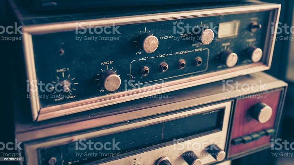 Retro amplifier stock photo