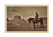 Retro Antique Postcard Photograph of American West Scene with Cowboy