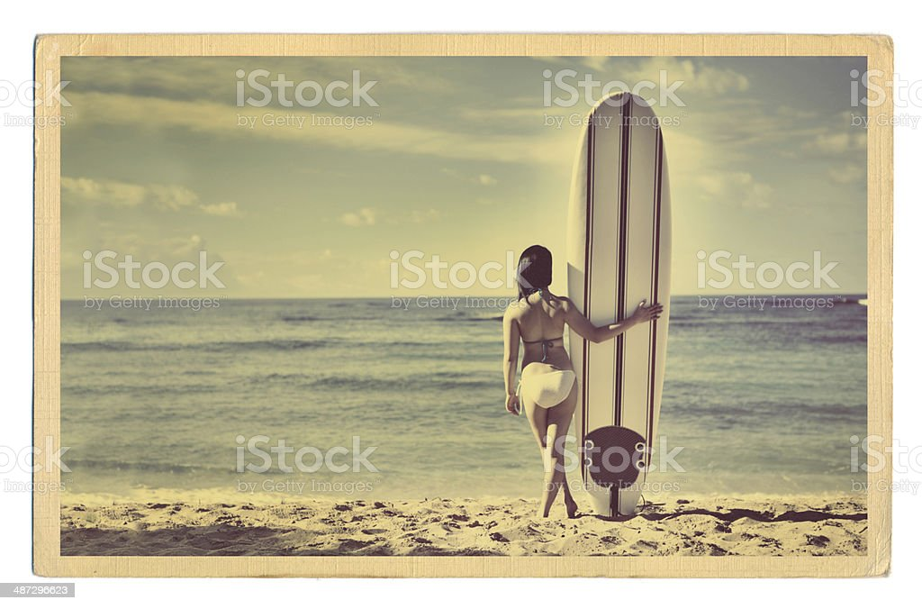 Retro Antique Postcard with Woman Surfer in Tropical Paradise Vacation stock photo