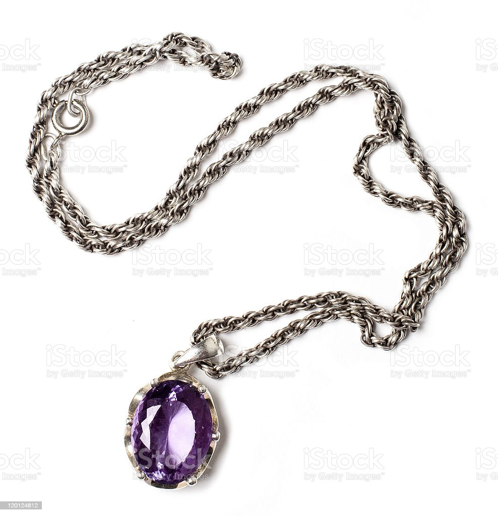 retro antiques pendant with violet stone royalty-free stock photo