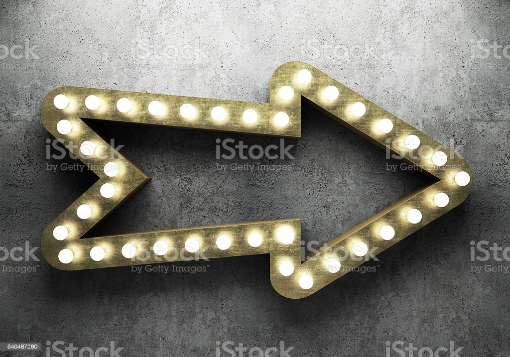 Retro arrow with neon lights stock photo