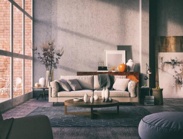 chambre rétro livig artistique - architecture intérieure beton photos et images de collection