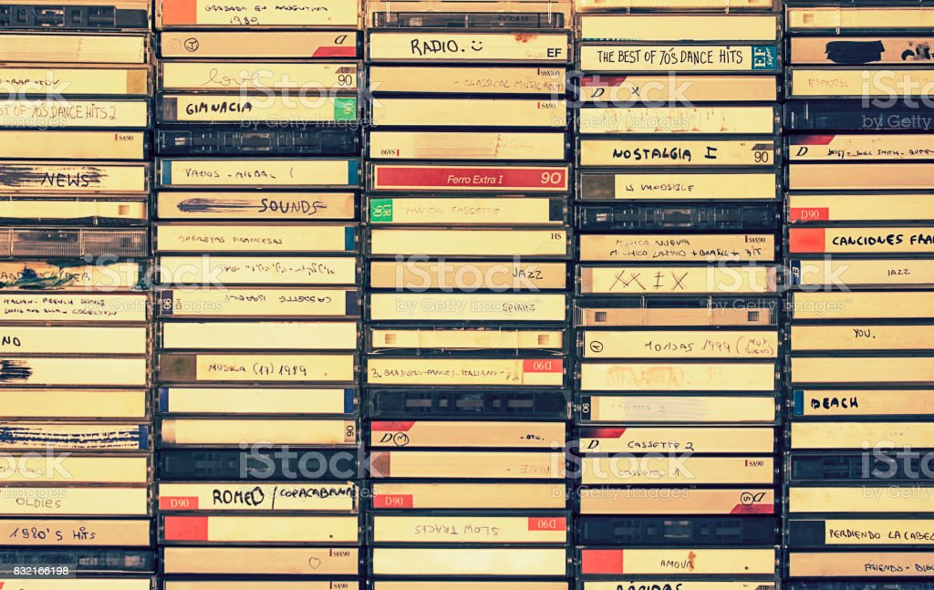 Retro audio cassettes boxes stock photo