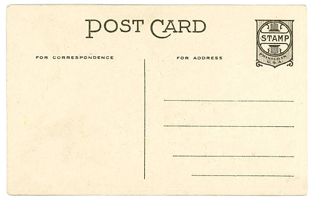 Retro Background Image of an Vintage Antique Postcard Back stock photo