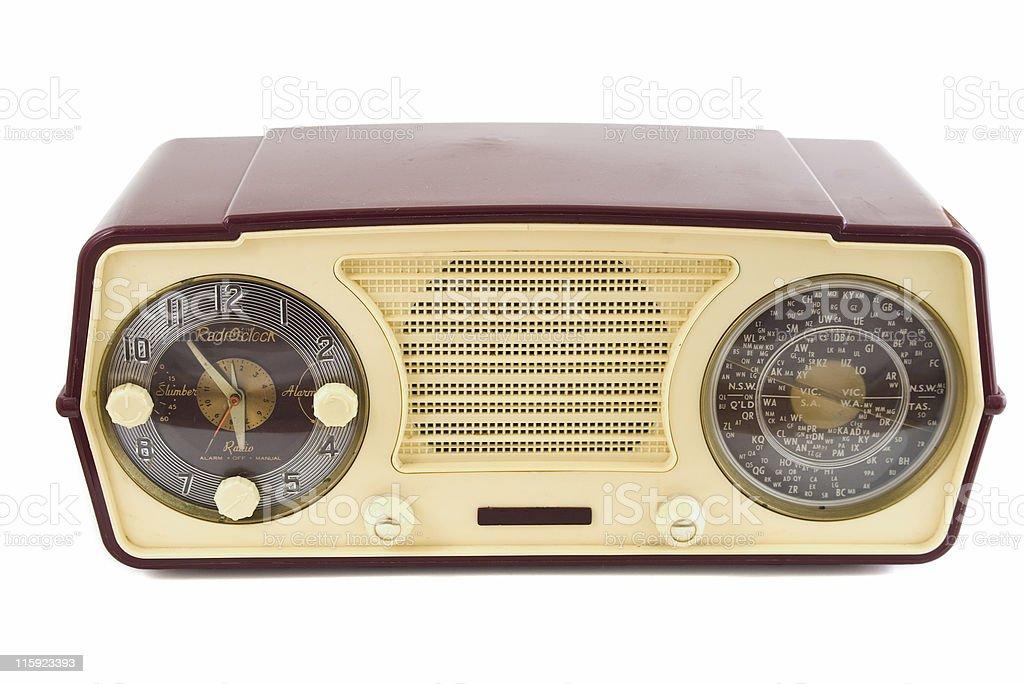 Retro bakelite valve radio with clock, on white background stock photo