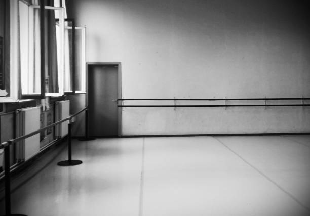 Retro ballet room black and white Retro ballet room black and white dance studio stock pictures, royalty-free photos & images
