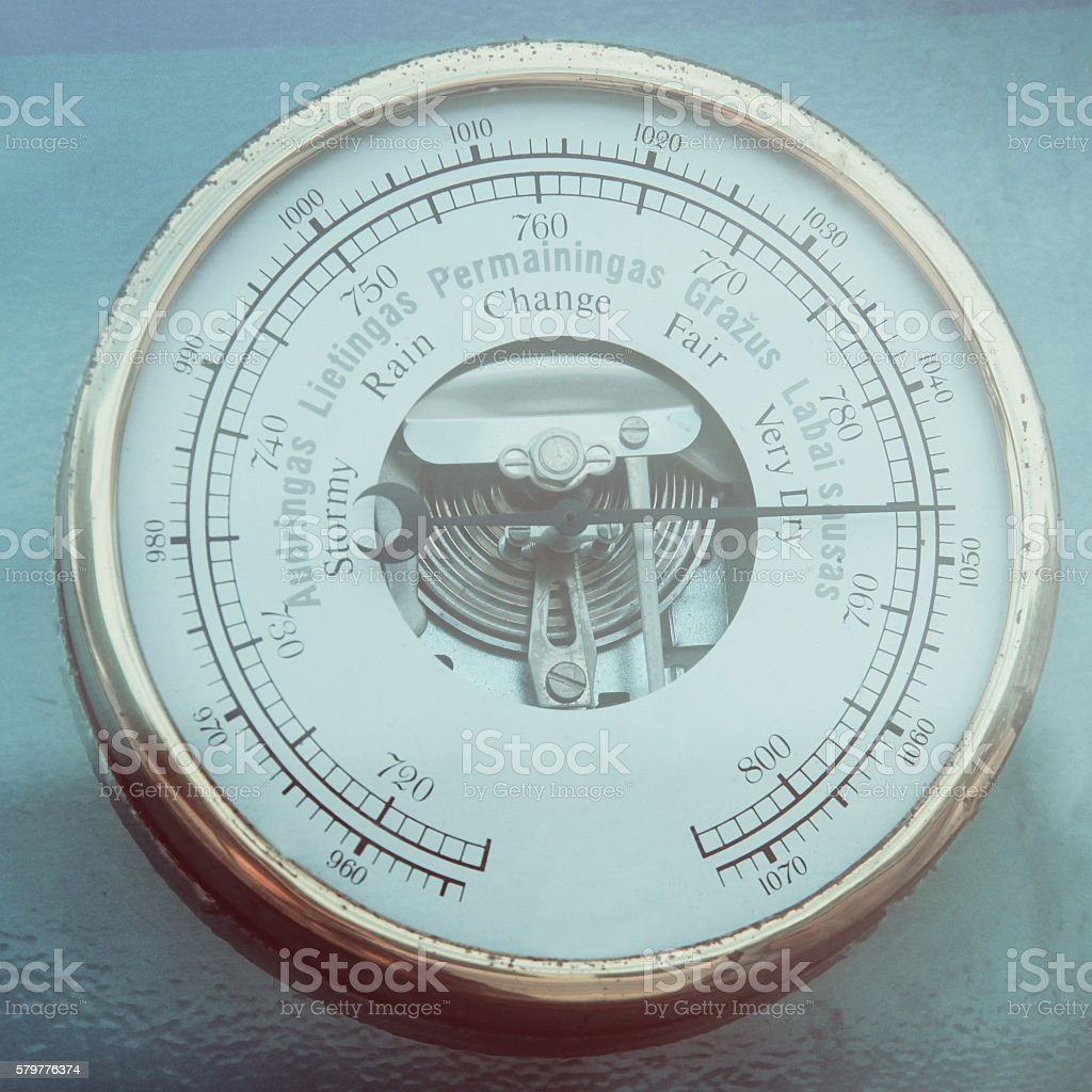 Retro barometer close up stock photo
