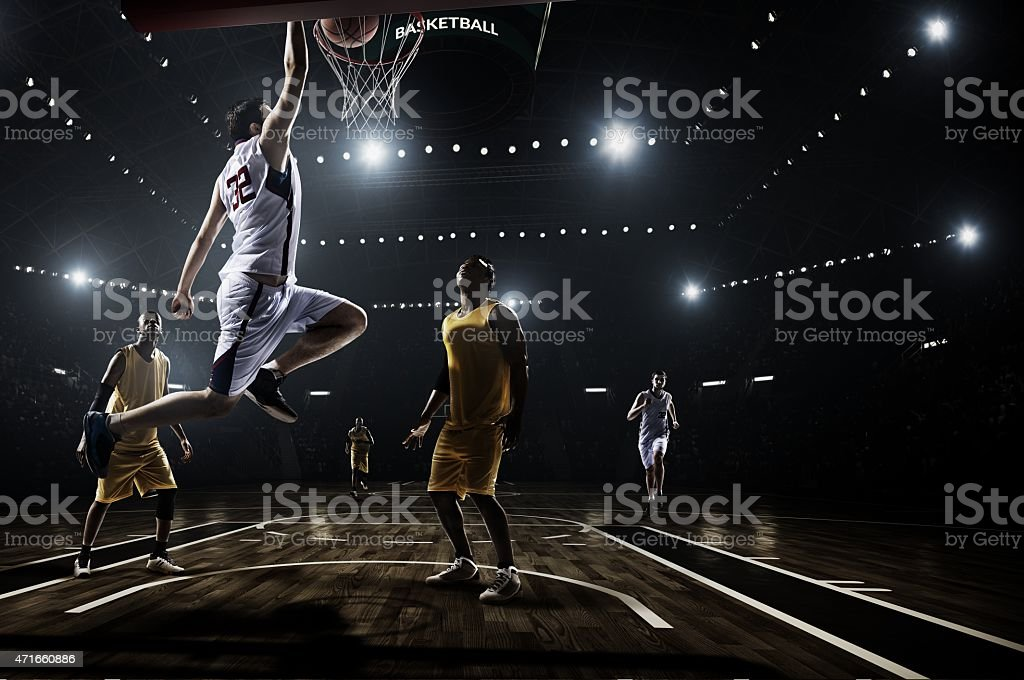 Retro basketball game moment stock photo