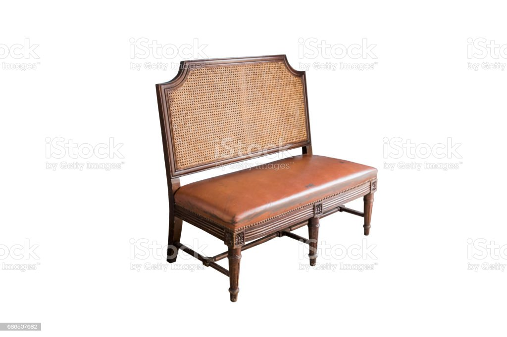 Retro bench with leather seats,isolated on white background with clipping path. zbiór zdjęć royalty-free