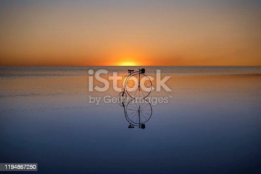 Retro bicycle on the water, Salt Lake /Anatolia - Turkey