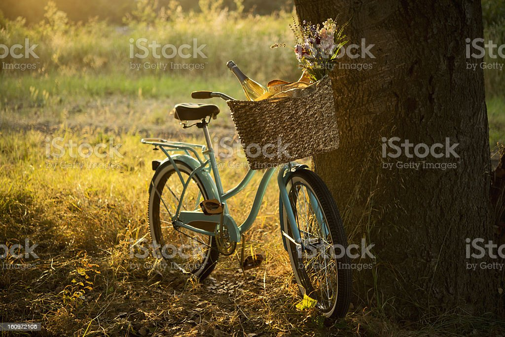 Retro Bicycle with Wine in Picnic Basket - XXXL royalty-free stock photo