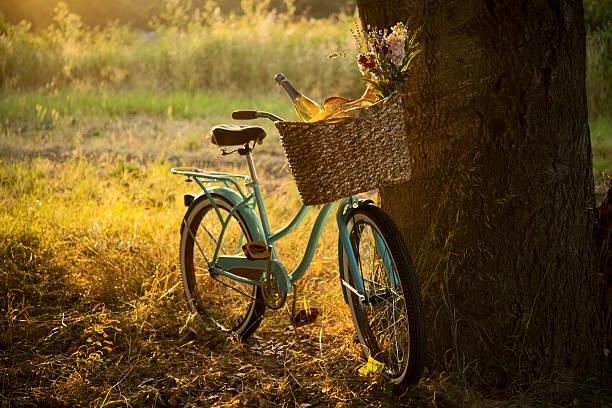 レトロバイクとワインのピクニックバスケット-xxxl - 田舎のライフスタイル ストックフォトと画像