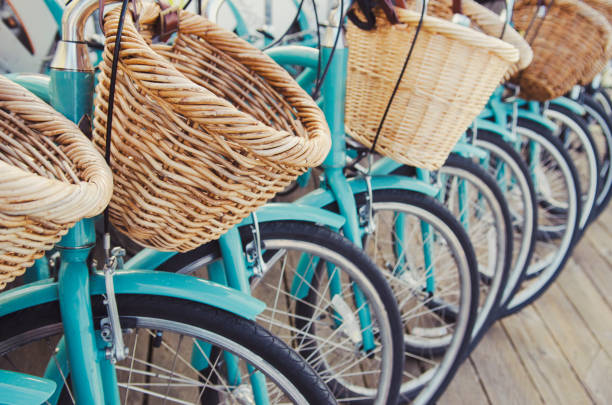 Retro bicycles in a row stock photo