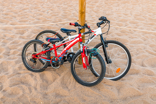 Retro bicycles in the beach