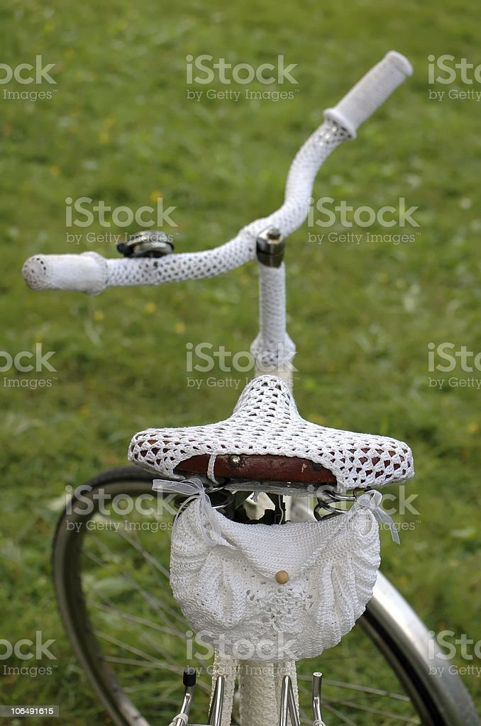 retro bike with white crochet clothing royalty-free stock photo