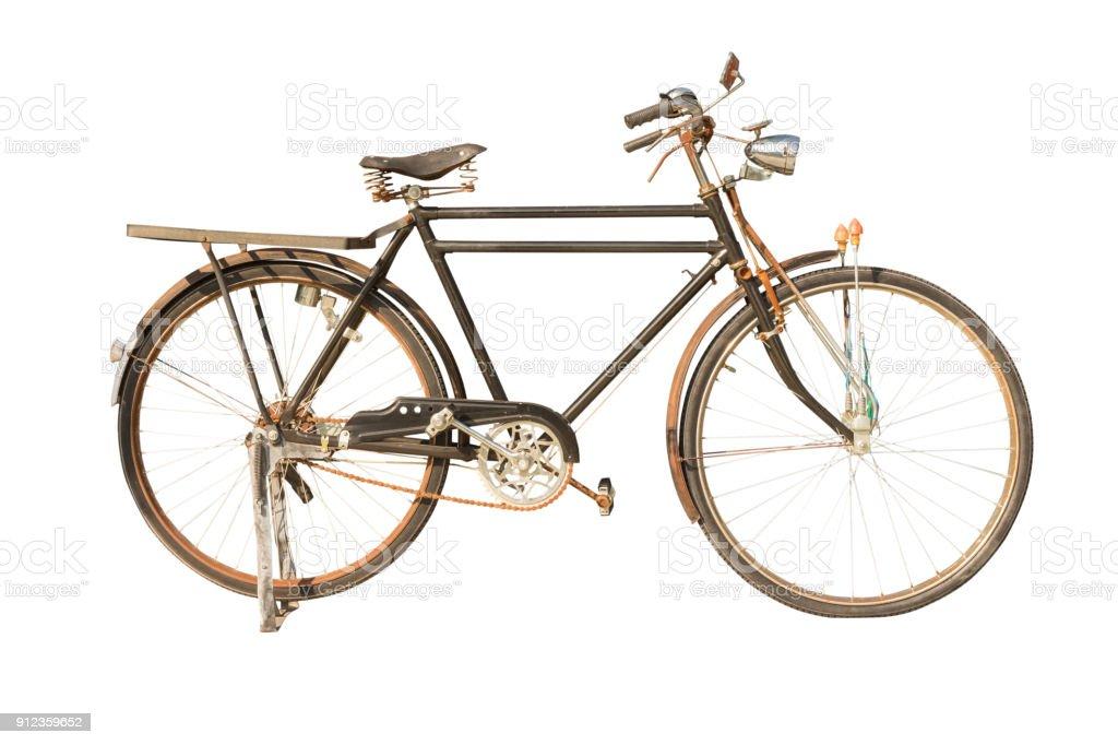 Bicicleta Retro, aislado en fondo blanco con trazado de recorte. - foto de stock