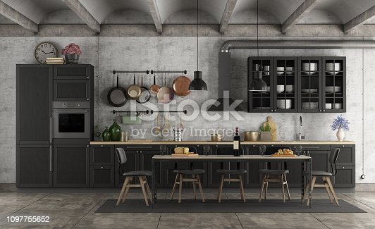 Retro black kitchen in a grunge interior with dining table - 3d rendering Note: the room does not exist in reality, Property model is not necessary