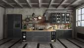 Vintage black kitchen with island in a loft - 3d rendering Note: the room does not exist in reality, Property model is not necessary