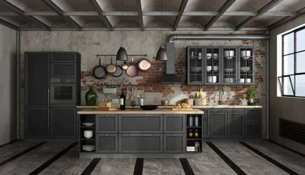 retro-schwarze küche in einem alten zimmer - küche italienisch gestalten stock-fotos und bilder