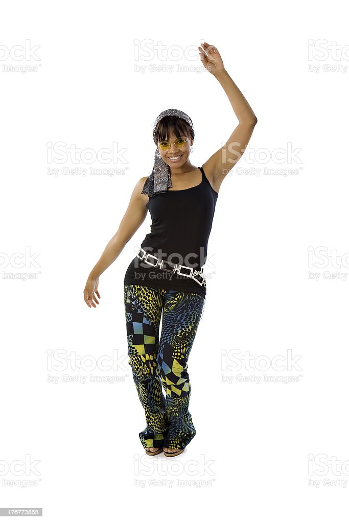 Retro Black Woman Dancing royalty-free stock photo