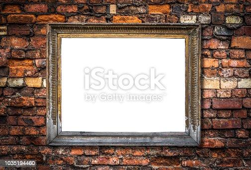 istock Retro Blank Art Frame On A Brick Wall 1035194460