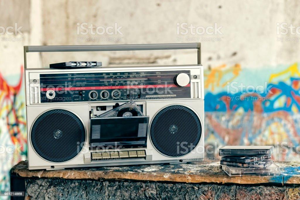 Retro boombox radio with cassettes stock photo