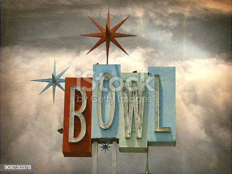 retro bowling alley sign