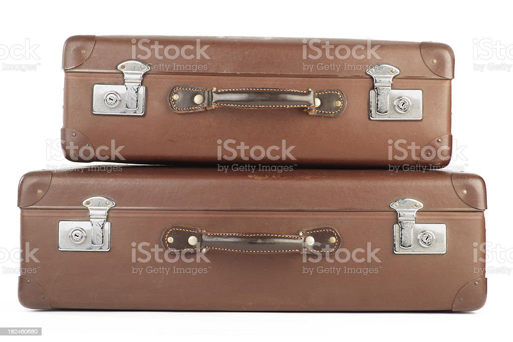 Retro brown suitcases royalty-free stock photo