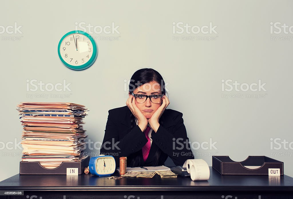 Retro Businesswoman is Sad stock photo