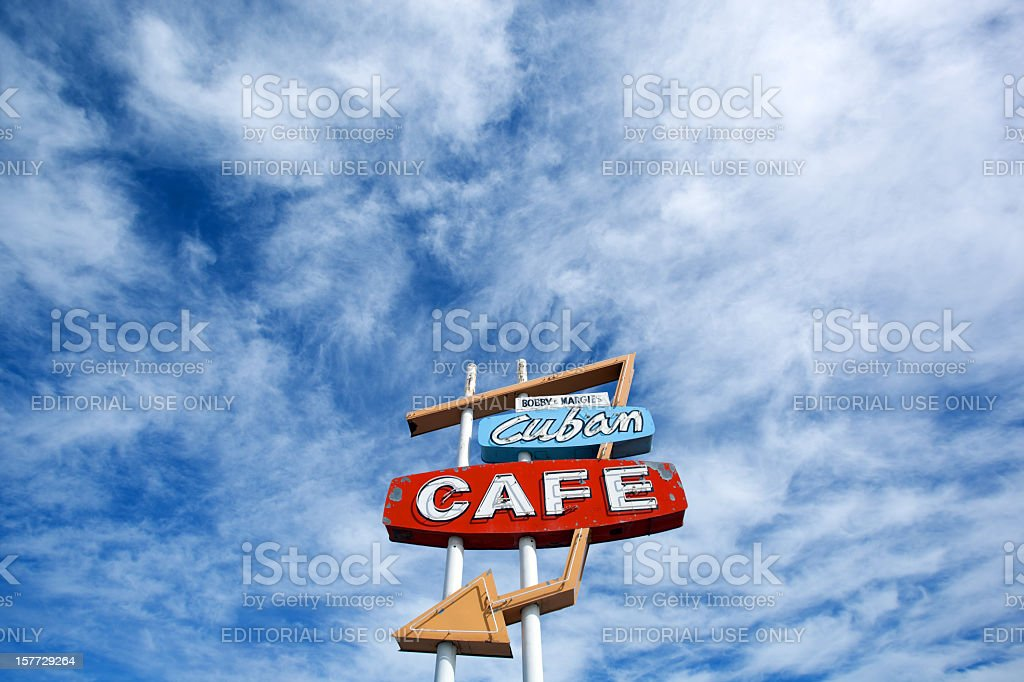 retro cafe sign and sky royalty-free stock photo