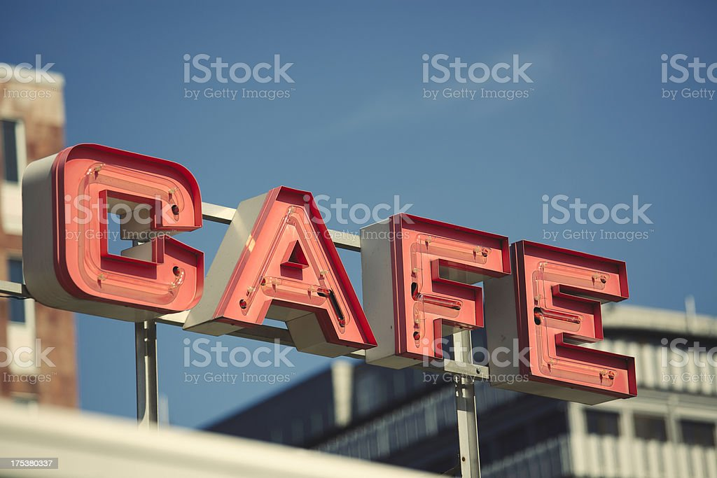 Retro cafe sign royalty-free stock photo