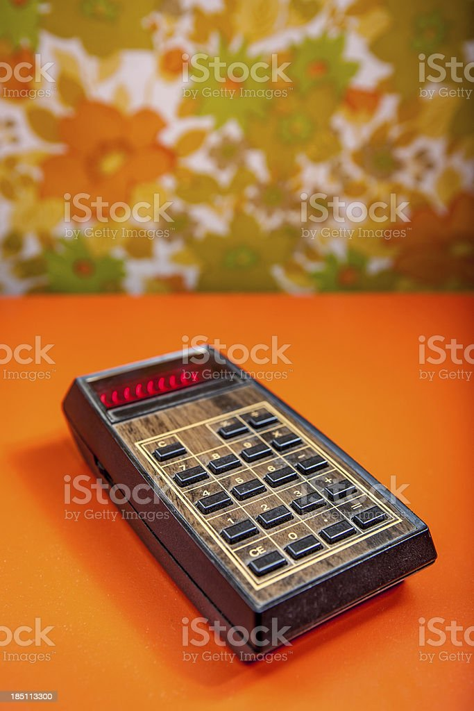 Retro Calculator with Wood Panneling Old Technology stock photo