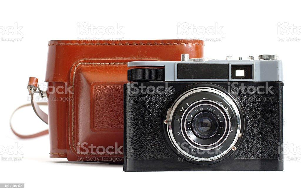 Retro camera and case royalty-free stock photo