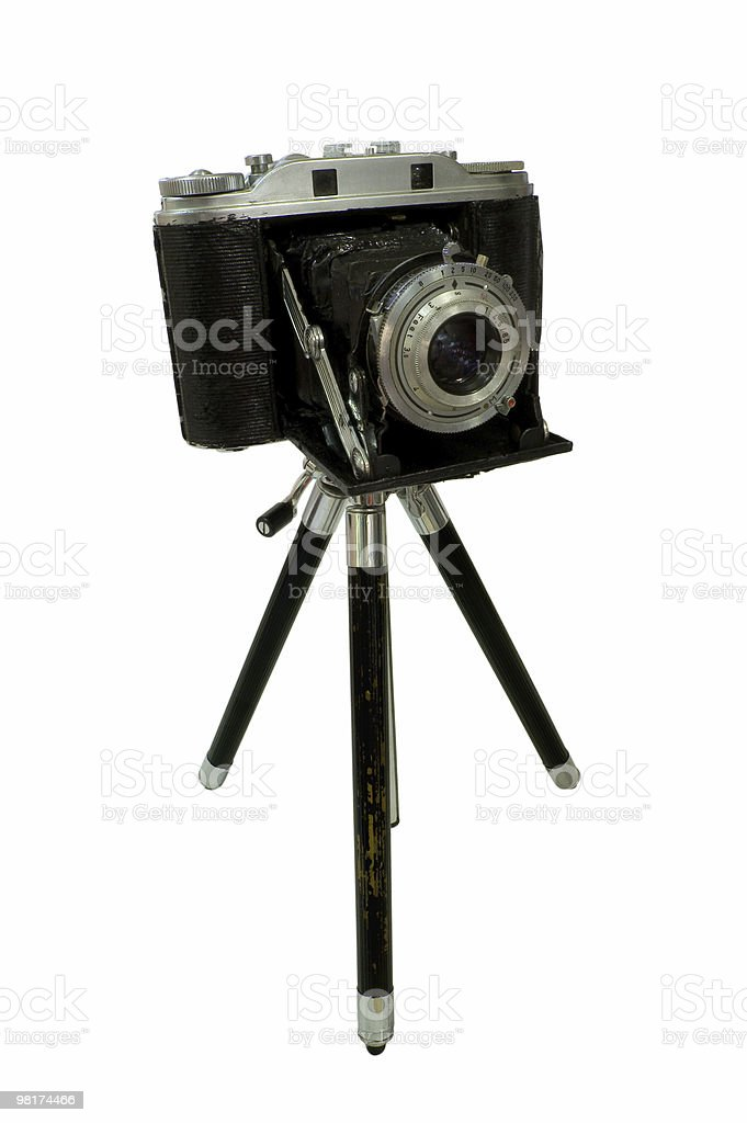 Retro Camera attached to Tripod royalty-free stock photo
