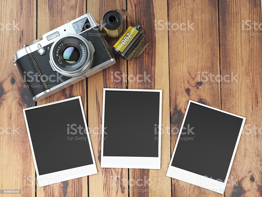 Retro Camera Empty Photo Frames Pictures And Film Canisterrs Stock ...