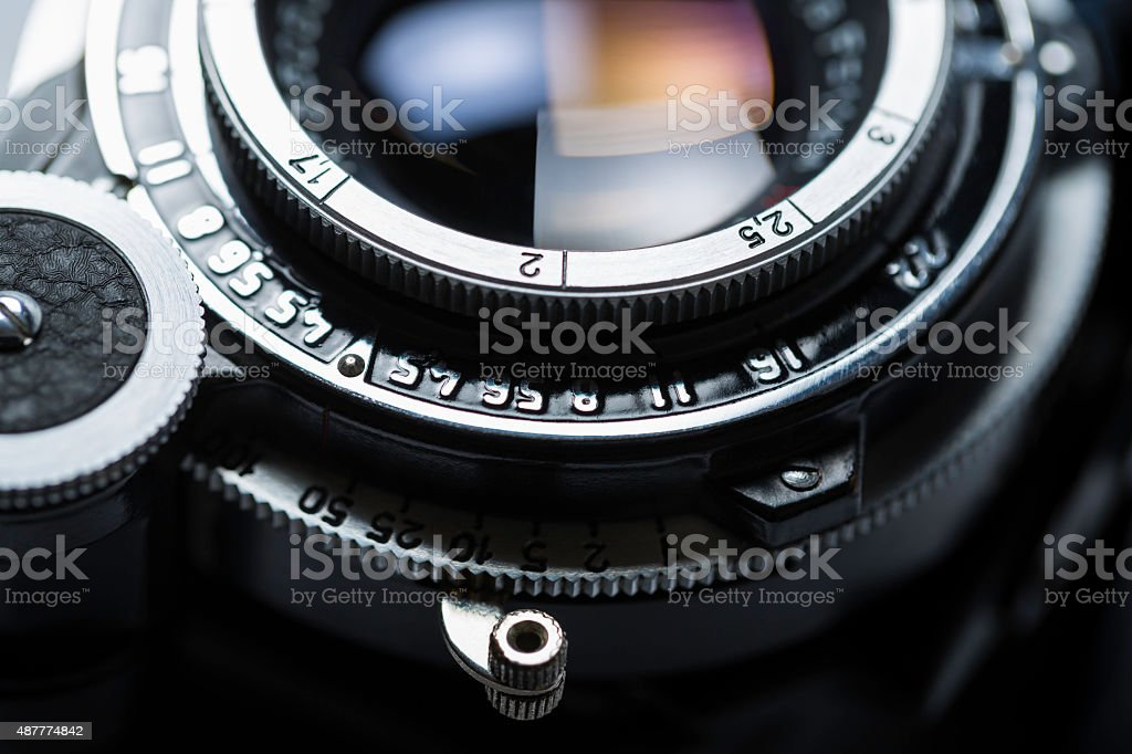 retro camera lens stock photo