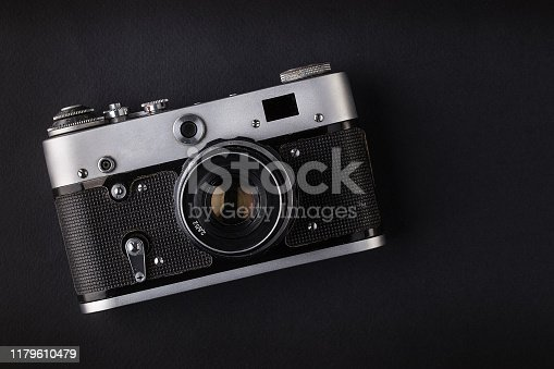 retro, old, camera, black, background, top view, studio shot