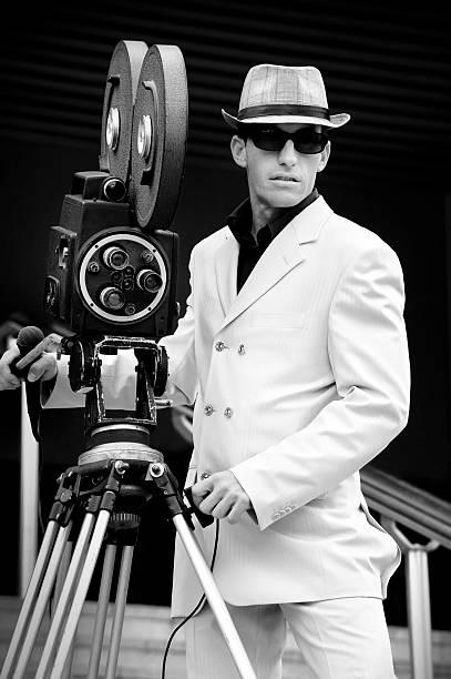 Retro camera reporter portrait stock photo