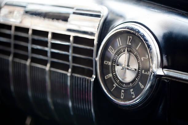 Retro Car Dashboard Clock and Radio stock photo