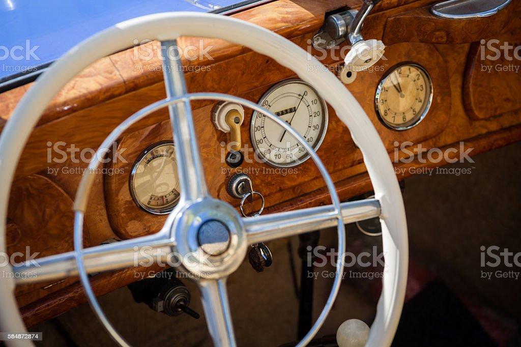 Retro car dashboard stock photo