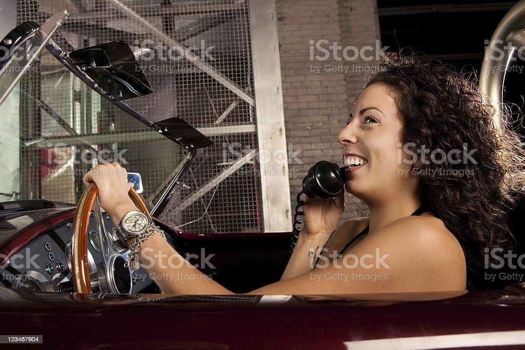 Retro Car Phone conversation stock photo