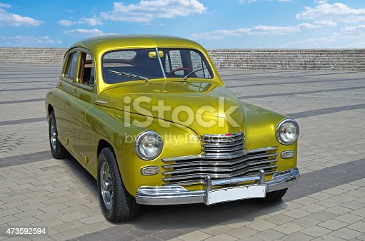 Vintage automobile with a beautiful original color, which is released in 1945