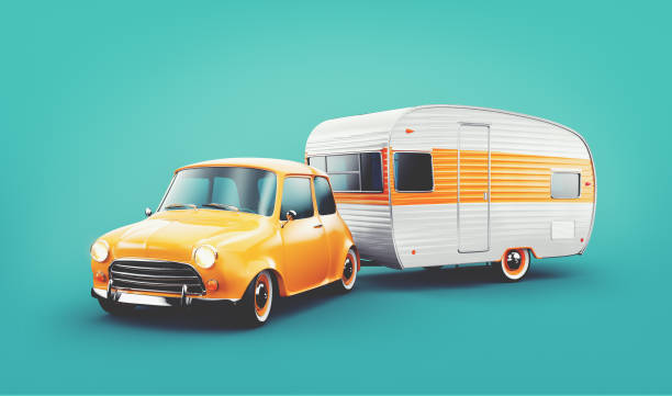 Retro car with white trailer. Unusual 3d illustration of a classic caravan. Camping and traveling concept stock photo