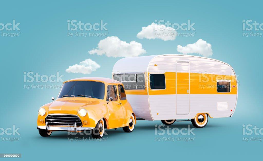 Retro-Auto mit weißen Anhänger. Ungewöhnliche 3d Darstellung der klassischen Wohnwagen. Camping und Reisen Konzept – Foto