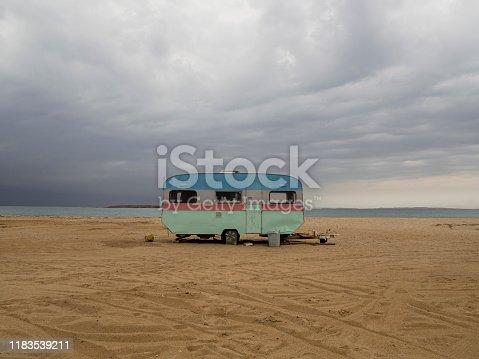 Retro caravan near the sea