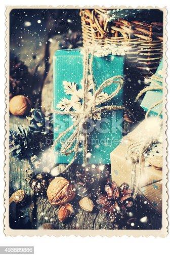 493890050 istock photo Retro Card. Festive Boxes with Decoration Snowflake. Drawn Snow 493889886