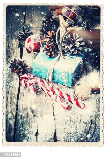 493890050 istock photo Retro Card with Festive Gifts. Vintage. Drawn Snowfall 493884584