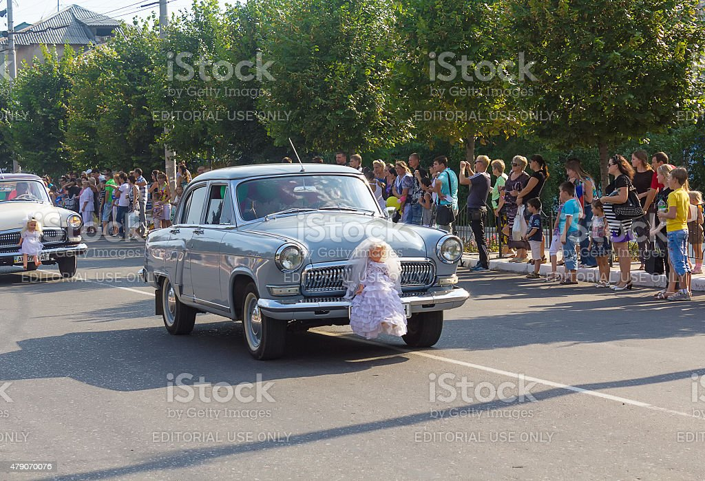 Retro cars depicting a wedding procession stock photo