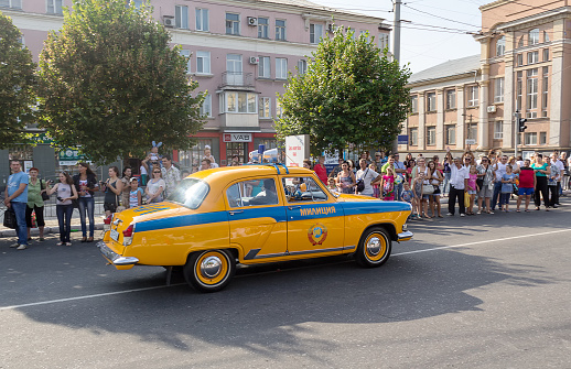 Makeevka, Ukraine - August 25, 2012: Retro cars - patrol car since the Soviet Union at the parade during the celebration of the city day
